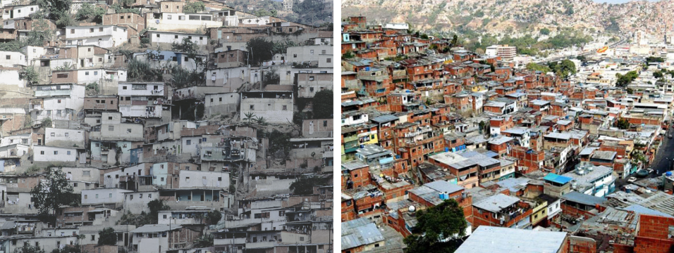 La Vega barrio in Caracas, left late 1970s, right contemporary. (Archive)