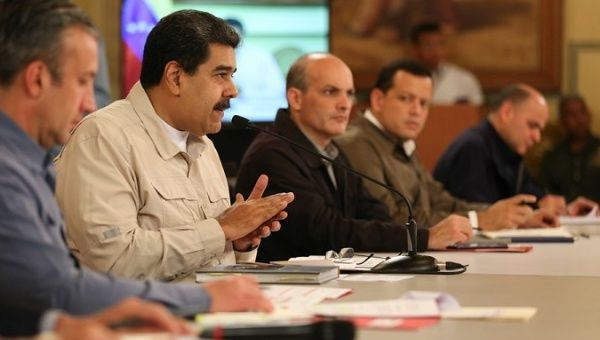 President Nicolas Maduro and his economic team during the speech addressing new measures to improve the