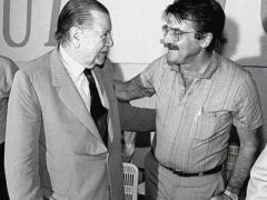 Teodoro Petkoff (right) was appointed Minister of Planning and Coordination by Rafael Caldera (left) in 1996