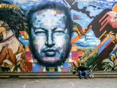 Mural of former Venezuelan President Hugo Chavez in Bellas Artes, central Caracas. (Courtesy)