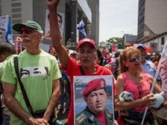 Chavistas march in support of the Venezuelan government.