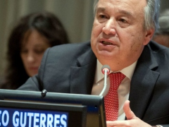 "UN Secretary General Antonio Guterres called for the ""waiving"" of sanctions on Venezuela and other nations confronting the COVID-19 pandemic. (UN/Manuel Elias)"