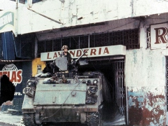 "A US soldier, on a US Army M113, in Panama during ""Operation Just Cause"""