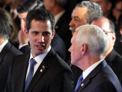 Guaido met with US Vice President Mike Pence in Bogota on February 25. (EFE)