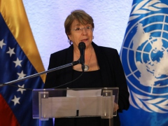 UN High Commissioner for Human Rights Michelle Bachelet offers her initial findings at a press conference close to Caracas' Maiquetia airport. (Fausto Torrealba / Reuters)