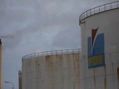 The logo of the Venezuelan oil company PDVSA is seen on a tank at Isla refinery in Willemstad on the island of Curacao