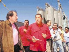 Venezuelan President Hugo Chavez and Nicaraguan President Daniel Ortega during the inauguration of a corn processing plant on Sunday. (LA PRENSA/AP)