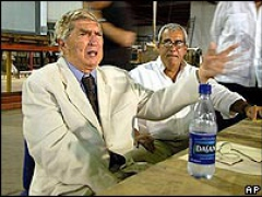 Luis Posada Carriles during his press cofnerence shortly after his entry into the U.S. in April 2005.