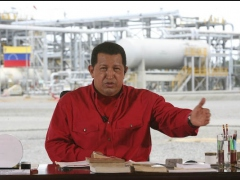 President Chavez speaks from the Petromonagas project, formerly called Cerro Negro, in the Orinoco Oil Belt. (Francisco Batista/MinCI)