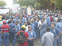 Sidor workers strike last Thursday (Aporrea)