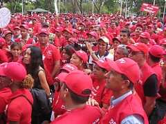 United Socialist Party Delegates protest against ExxonMobil in Puerto Ordaz on Saturday (Gonzalo Gomez/Aporrea)