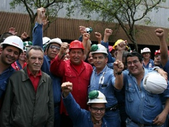 Venezuelan President Hugo Chavez meets with Sidor workers (ABN)