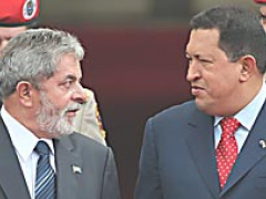 "Lula said the ""extraordinary"" oil accords with Venezuela will improve national sovereignty, and Chávez said relations with Brazil are at an ""optimum level."" (El Universal)"