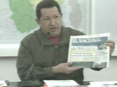 President Chavez taking apart the lies of the private media. (VTV)