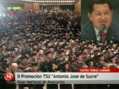 President Chavez during the graduation of the second group of university students. (VTV)