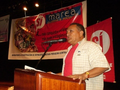 Stalin Perez Borges, a national coordinator of the National Union of Workers (UNT)