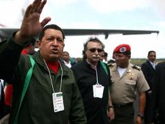 President Hugo Chavez upon landing in Brazil to attend the World Social Forum on Thursday. (Prensa Presidencial)