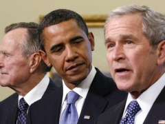 From Left, former U.S. President George Bush, President-Elect Barack Obama, and outgoing President George W. Bush