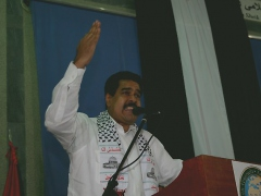 Foreign minister Nicolas Maduro speaking in solidarity with Palestine on Tuesday (MPPRE)