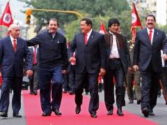 From Left, Cuban Vice President Jose Ramon Machado, Presidents Daniel Ortega of Nicaragua, Hugo Chavez of Venezuela, Evo Morales of Bolivia, and Manuel Zelaya of Honduras. (ABN)