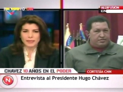 President Chavez during his half hour interview on CNN en español.