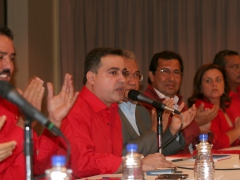 Anzoategui State Governor Tarek William Saab (at microphone) and 16 other governors ratified the transfer of power on Monday. (ABN)