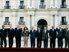 The Defense Ministers of the twelve UNASUR member nations in Santiago, Chile this week. (Marcelo Hernandez)