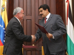 Foreign Ministers Riyad Al-Malki of the Palestinian Authority (Left) and Nicolas Maduro of Venezuela (ABN)