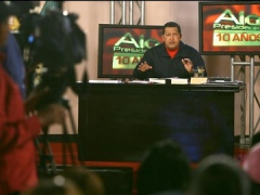 "President Hugo Chavez marking 10 years of ""Hello President"" (MINCI)"
