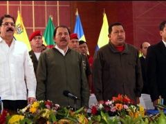 The presidents of Honduras (left), Nicaragua, Venezuela, and Ecuador during the emergency ALBA summit Sunday