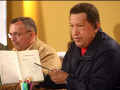 """President Hugo Chavez during his talk show ""Hello, President"" on Thursday evening"" (Prensa Presidencial)"