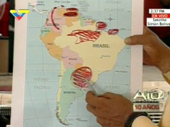President Chavez marks the location of major natural resources on the South American continent (VTV)