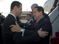 Syrian President Bashar Al-Assad and Venezuelan President Hugo Chavez (ABN)