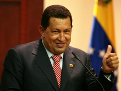 President Chavez speaking to U.S. union leaders on Wednesday (Telesur)