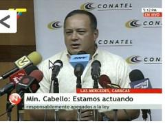 CONATEL chief Diodado Cabello, Monday (VTV)