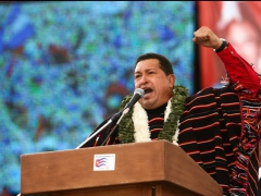 Venezuelan president Hugo Chavez at the ALBA conference (Francisco Batista/Minci)