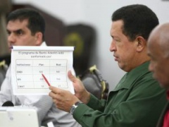 President Hugo Chavez in a meeting with his Council of Ministers on Tuesday (ABN)