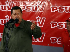 President Hugo Chavez after voting in PSUV elections on Sunday (Juan Carlos Solorzano)