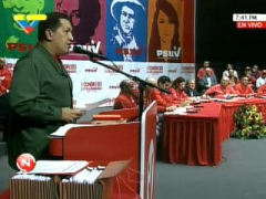 Venezuelan President Hugo Chavez addresses PSUV Congress (YVKE)