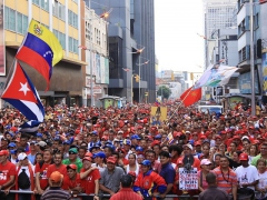 Venezuelans march in Caracas against the Colombia-U.S. military  deal (YVKE)