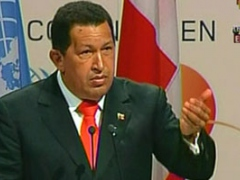 Venezuelan President Hugo Chavez speaking to the Climate Change Summit in Copenhagen (Telesur)