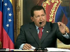President Hugo Chavez during his end of year address, Wednesday (VTV)