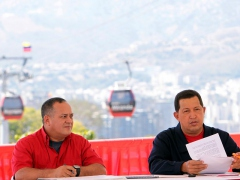 President Hugo Chavez (right) responded to Piñera during a ceremony with the minister for public works on Tuesday