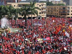Supporters of Venezuelan President Hugo Chavez rally on Saturday (ABN)