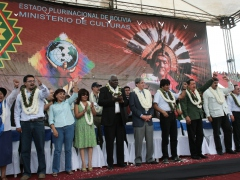 Leaders from Nicaragua, Cuba, Bolivia, Ecuador, and Venezuela greet a crowd of s
