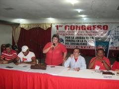 Marcela Maspero of UNTE speaks during a meeting in November 2009.