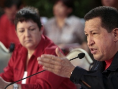 President Chavez speaks at the IVSS pension act at Miraflores (YVKE)