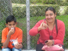 Voter Lizette Esparza shows her purple pinky finger (Tamara Pearson)