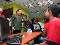President Chavez in an info-centre