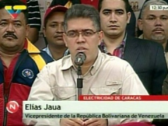 Vice-president Elias Jaua, with electricity workers